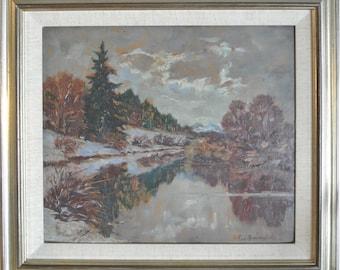 Antique impressionist oil painting landscape by German artist R. Pfannenstiel