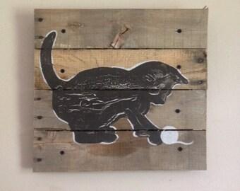 Black Cat Art,20x20, kitten,Pallet Art,Rustic wall art,silhoutte,nursery art,outdoors,nature,children art,decor,cat art,kids room