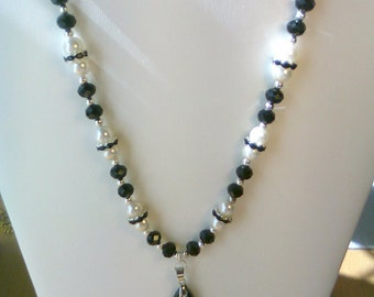 Black Crystal and Cream Pearl Necklace