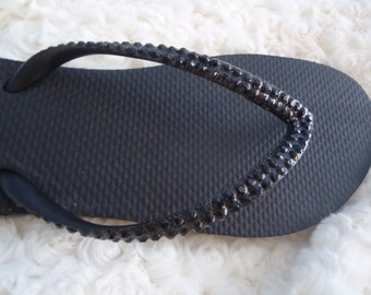 Black Flip Flops With Black Crystals