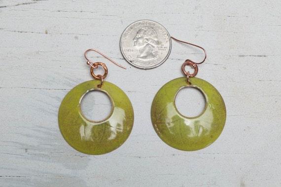 BE BOLD SALE! Bitter green hoop earrings in torch-fired enamel