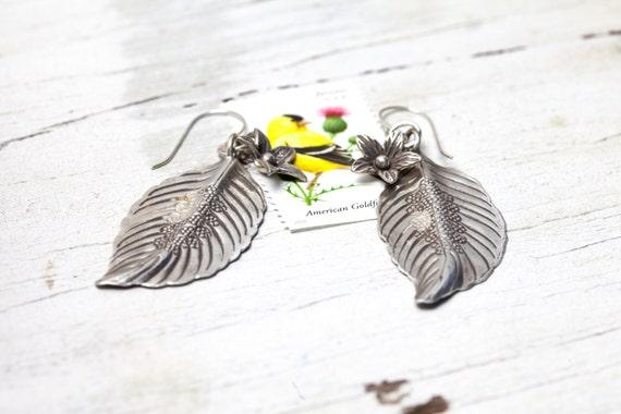 leaf and flower fine silver earrings by ladeDAH! jewelry.