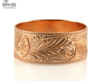 14k rose Gold woodland wedding band ,native american, Engraved feather ring, solid gold, recyceld gold, wedding band, men band, women's band