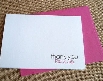 CHOOSE YOUR COLORS - Personalized Wedding Thank You Note Card