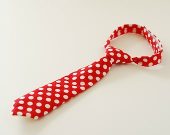 Red polka dot necktie for baby, photo prop necktie for boy, Baby Birthday party prop necktie - made to order
