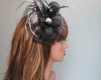 Black Bridal Headband  Wedding Mesh Headband  Wedding Accessory Pearls Feathers Bridal Accessory