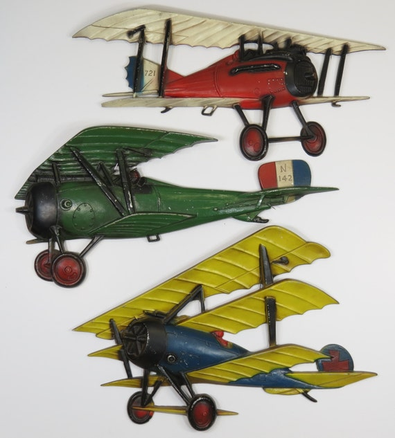 3 Sexton Cast Metal Airplane Vintage Wall Hangings Wwi Biplane