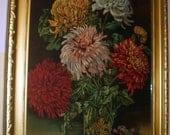 Reserved Pinkicecream - PAYMENT# 2 Flowers In Vase Lrg Chrysanthemums 1906 StillLife JamesLee Chromolithograph Gold Wood Gesso Frame Violets