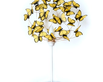 White table lamp with butterflies-colorful,butterfly lover,butterflies, special gift,room decor