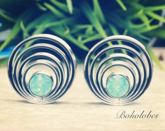 "Pair of cascading swarovski crystal plugs for gauges or stretched ears sizes 1"" 25mm"