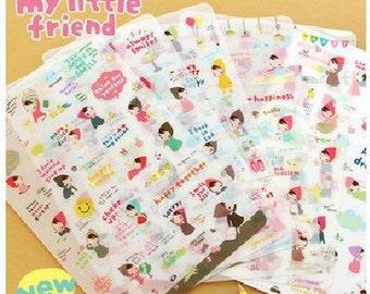 6 Sheets Little Red Korean Stickers - Deco Sticker Set - Diary Sticker