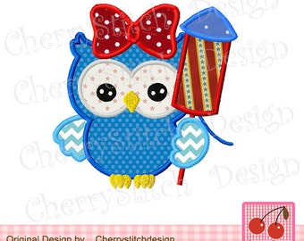 """4th of July owl,Patriotic owl Machine Embroidery Applique Design-4x4 5x5 6x6"""""""