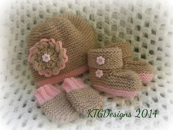 Easy Knitting Pattern To Knit Baby Girls Hat Mittens And Bootees