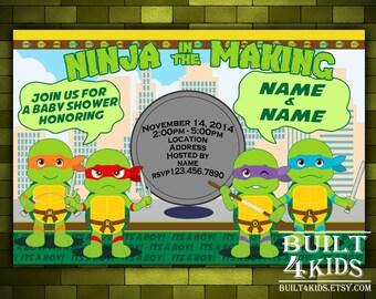 teenage mutant ninja turtles baby shower invitation