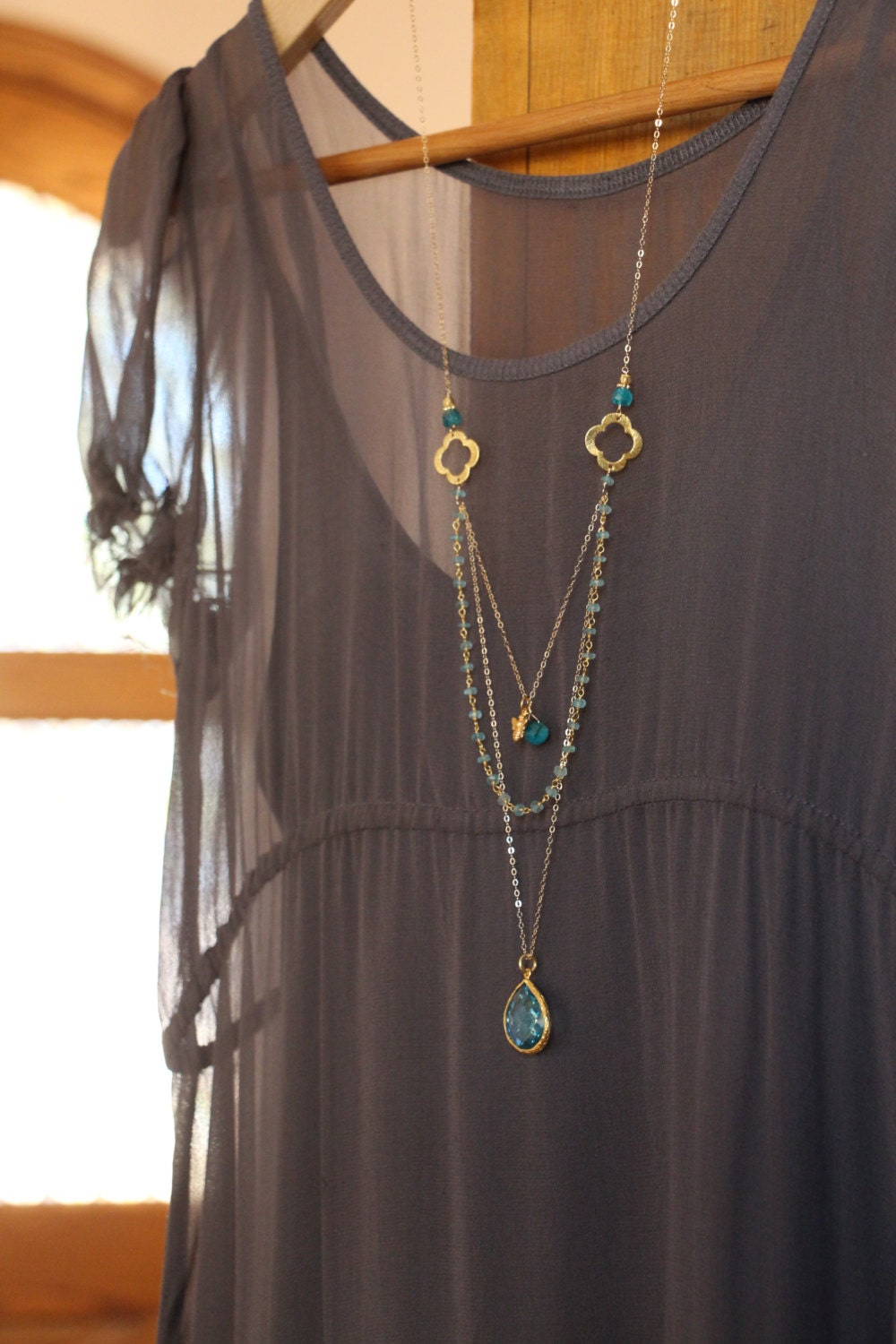 Long Multi Layer Necklace Wire Wrapped Apatite W Blue Topaz