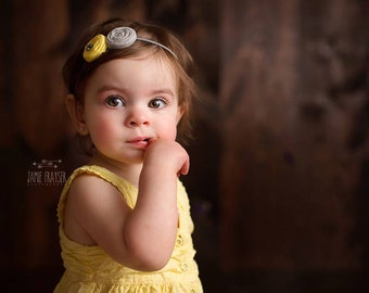 Gray Yellow girls  Headband ;  Double Rosettes Yellow Gray Headband  for babies Girls