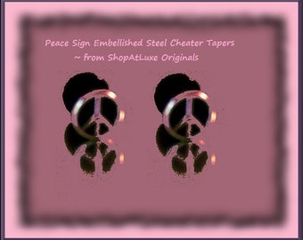 Silver and Black Peace Sign Earrings As Cheater Plugs Or Stud Earrings