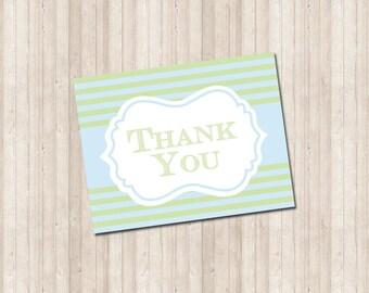 Thank You Card - Blue & Green Stripe