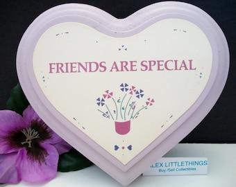 Wooden Lavender Purple Heart Plaque FRIENDS ARE SPECIAL Vintage Home Decor