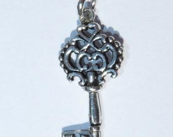 925 Genuine Silver Key Charm - 92.5% Sterling Necklace Weddings Christening Bride Bridesmaid 21st 16 Birthday Gift Graduation Door House 18