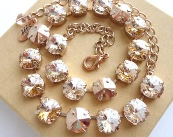 GOLDEN Sunset- Swarovski crystal necklace in rose gold tones, Designer inspired, Siggy necklace