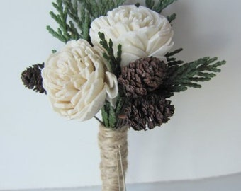 Boutonnieres - Miniature Sola Flower and Pinecone Boutonnieres
