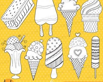 ice cream popsicle digital stamp commercial use, vector graphics, digital stamp, digital images - DS311
