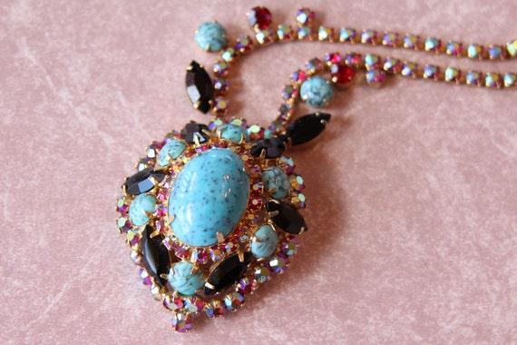 Juliana D&E Delizza and Elster Drop Dead Gorgeous Necklace Blue Turquoise Matrix