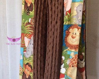 Jungle Animals and Brown Minky Diaper Stacker- Holder