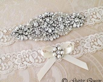 Ivory Bridal garter set, Ivory Wedding Garter set, Rhinestone and Crystal garter, White Lace Garter Set