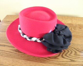 Red Wool Hat with White and Black Trim