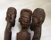 Vintage Hand Carved One Piece African Bowl Holder Heads and Feet