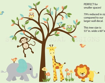 Safari Wall Decal, Nursery Wall Decal, Jungle Animal wall decal, monkey decal, Smaller Modern Pastel Design