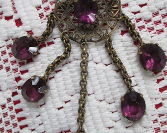 Vintage Retro and feel of  Glitz and Glamor of Hollywood regency time -  VIctorian Amethyst Drop stone brooch - Estate Find!