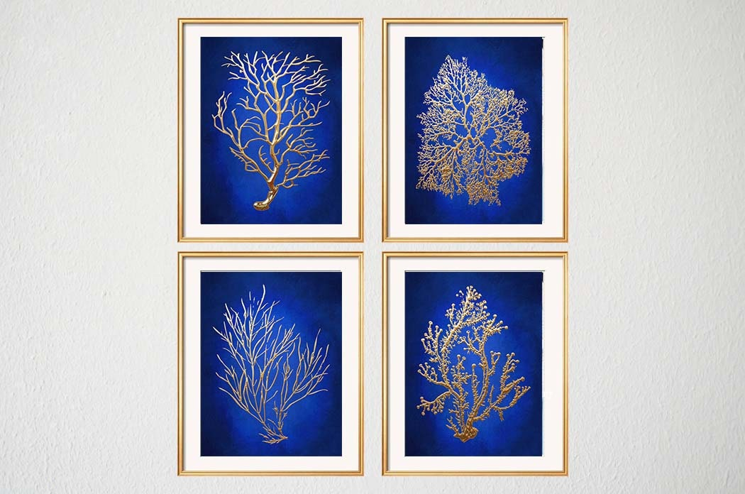 Blue gold wall art chinoiserie wall art indigo blue blue for Gold wall art