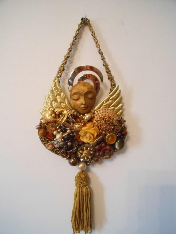 Vintage Jewelry Art, Costume Jewelry Art, romantic assemblage, romantic wall decor, shabby wall decor