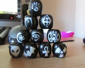 Hand Painted Dreadlock beads!