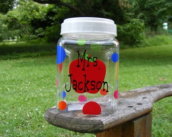 Personalized candy jar plastic