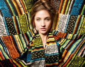 ON SALE: Printed silk scarf, Multicolor scarf, Huge scarf, Oversized scarf,  Designer scarf by Dikla Levsky, Black, Lime, Orange, Turqouise