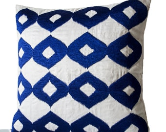 Decorative Throw Pillow Cover, Royal Blue Pillows, White Silk Blue Ikat Embroidered Pillow, Accent Pillows, 16x16, Couch Pillow, lkat Pillow