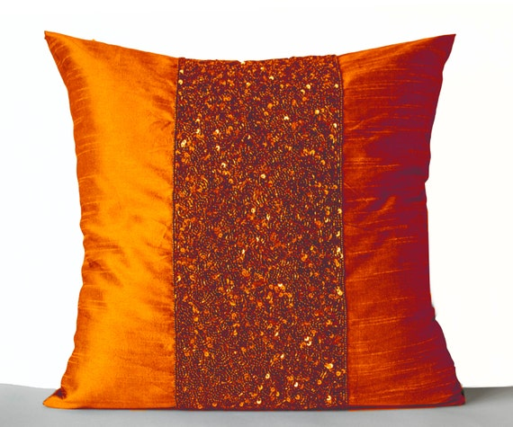 Throw Pillows Orange Silk Pillows Orange Sparkle Pillow