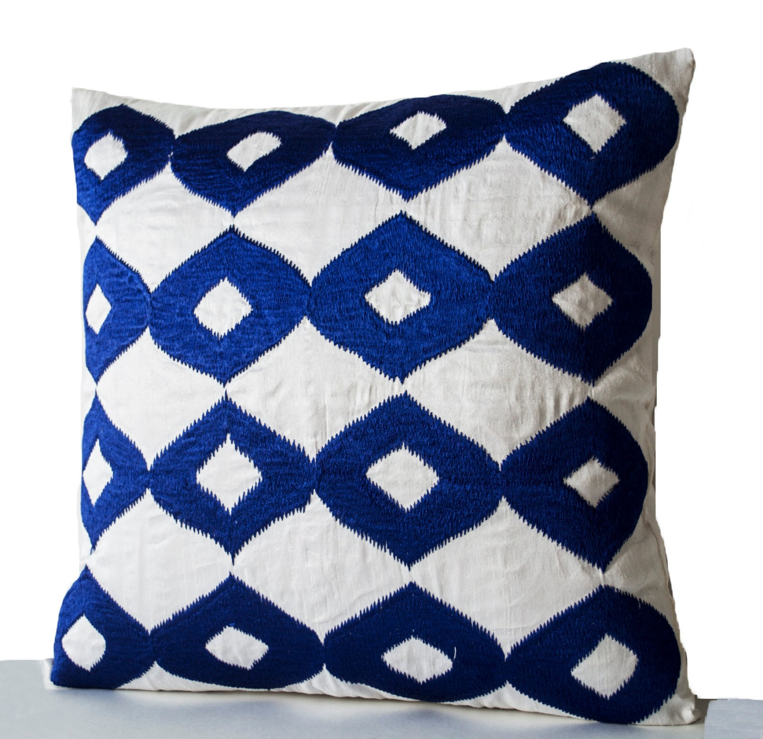 Decorative Throw Pillow Royal Blue Pillows White Faux Silk