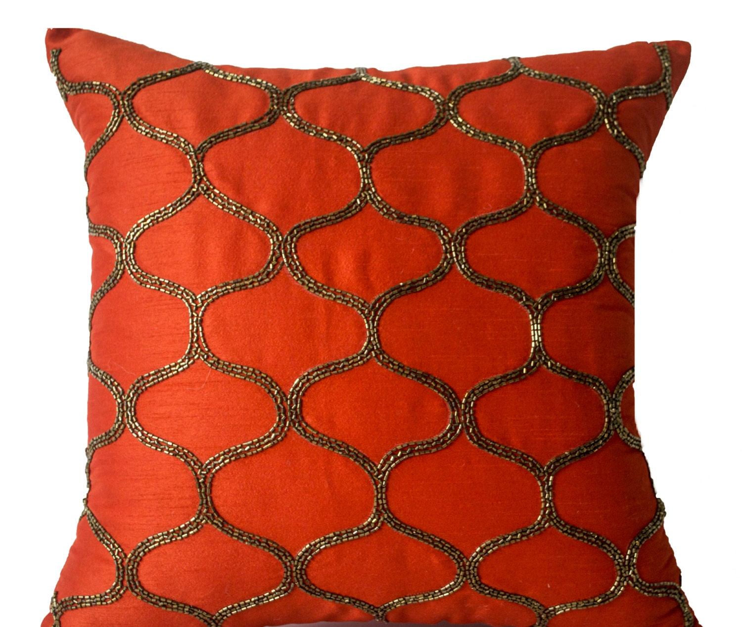 Orange Decorative Pillow Orange Pillow Orange Silk Pillow