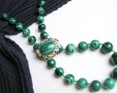 Large 1940s Malachite Brooch/ Pin Set in Sterling Silver w/ Gold Accents, Malachite Bead Necklace NOT Included, L.S.P. Co. USA.