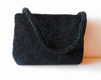 Black Evening Bag Vintage Beaded Evening Bag Black Handbag EB-0554