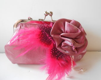 Rose Evening Bag. Rose Purse, Vintage Clutch Bag, Rose Handbag, Feathers and Pearls, Glamorous Evening Bag, Feather Trim EB-0280