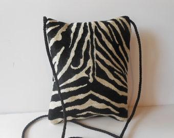 Zebra Evening Bag, Black White Purse, Fun Zebra Print , Petite Purse, Fun Purse, Shoulder Handbag EB-0407