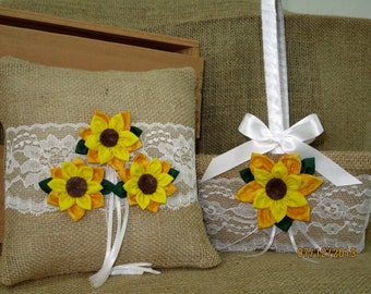 Burlap and Lace Sunflower Girl Basket and Ring Bearer Pillow