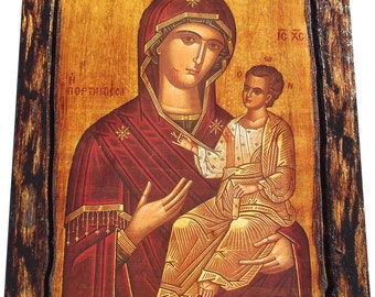 Virgin Mary - Portaitissa - Iveron - Orthodox icon on wood handmade (22.5cm x 17cm)