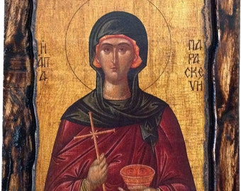 Saint St. Parasceve / Paraskevi - Orthodox Byzantine icon on wood handmade (22.5cm x 17cm)